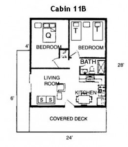 Hickory Hollow Resort Table Rock Lake Cabin 11B Floor Plan